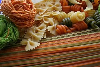 The starch found in pasta is made of long chains of glucose.