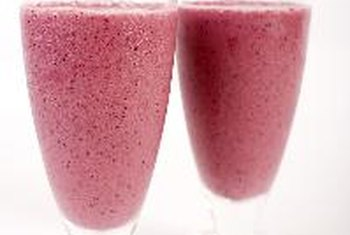 Raspberry frozen yogurt smoothies are light and refreshing.