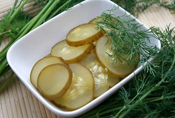 Dill pickles are low in calories but high in sodium.