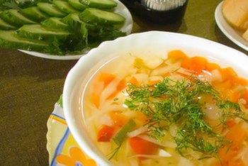 Clear soups are often the lowest in calories, particularly those which contain vegetables, rather than noodles, as the main ingredient.