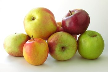 Apples have sugar, starch and fiber.