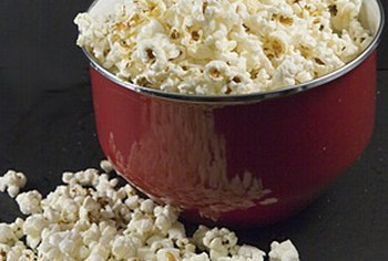 A bowl of plain air-popped popcorn makes a healthy snack.