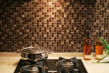 Kitchen tile accents can complement a solid-color countertop.
