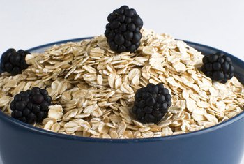 Healthy carbohydrates, like oatmeal and blueberries, should make up most of your diet.