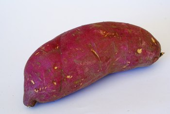 Some sweet potatoes display a deep purplish color.