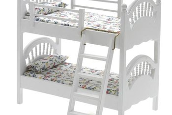 Twin over twin bunk beds convert into a single king-size bed.