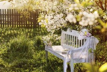 Join an old wood headboard and foot board for a beautiful garden bench.