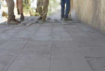 Stamped concrete works best outdoors, while stenciling can go indoors or out.