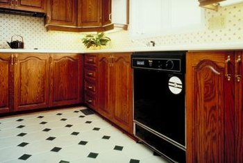 A vinyl floor's busy pattern helps hide repairs.