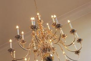 Transform a brass chandelier with metal spray paint.