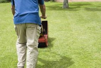 Long pants and sturdy footwear are key when mowing.