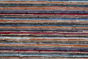 These striped, multicolor patterns are common on carpet tiles.