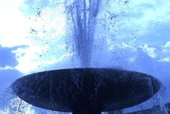 Special fountain tints or dyes are used to turn water blue.