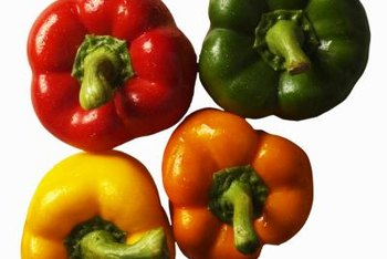 Party colored bell peppers add punch to salads.