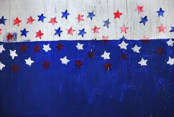 Choose a red, white and blue color scheme for a patriotic wall mural.