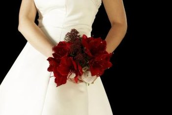 Winter-blooming amaryllis is a popular flower for Christmastime weddings.