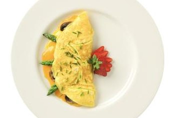 Veggie omelets are rich sources of protein, vitamins and cholesterol.