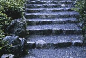Edge steps on a slope with stones.