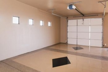 A clean garage floor helps tile installation.