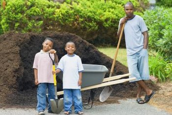 Leftover mulch is easy to sweep off of a driveway or paved area.