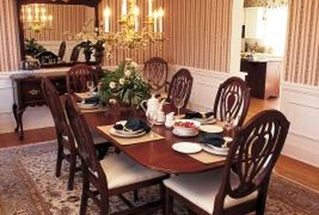 Chair rails break up a dining room wall for smart decorating.