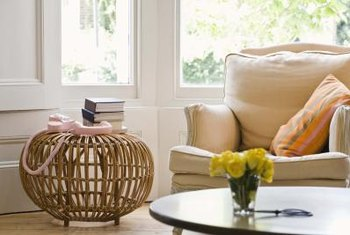 A round basket gives a whimsical touch to the space next to the couch.
