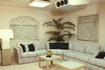 Sectional Couch Replace The Palm Tree With A Floor Lamp In This Arrangement For Optimum Illumination