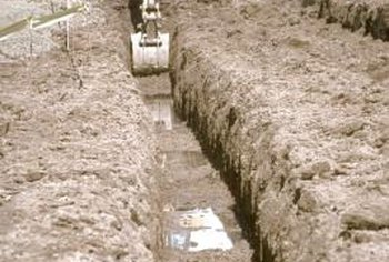 Trenches for French and pipe drains are dug in the same manner.