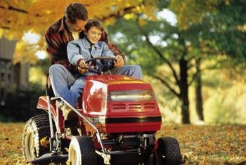 Lawn tractors, like their farm counterparts, have larger wheels in back.