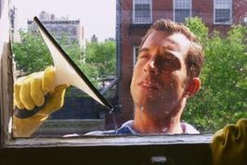 A squeegee can speed up window cleaning.