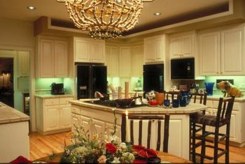 A crystal chandelier can make an in-kitchen dining area feel more formal.