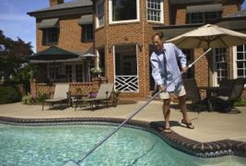 A net or skimmer doesn't remove fine particles from a pool.