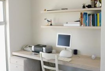 Horizontal floating shelves are a sleek and simple solution for storing items over a desk.