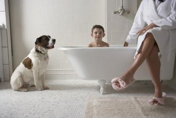 A little elbow grease helps keep your porcelain tub clean -- no matter who takes a dip.