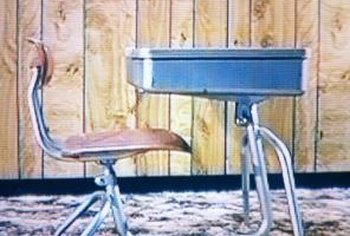Vintage metal desks such as school desks are sometimes found at flea markets.