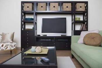 This modern-style, rectangular entertainment center has a squarish look.