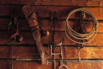 Hanging Western Home Decor On A Wall. Artifacts Redolent Of The Old West  Create A Dynamic Wall Display.