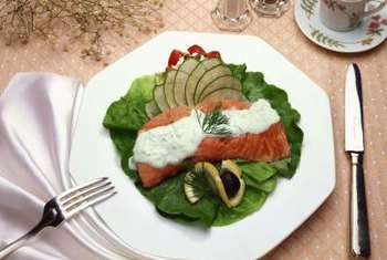 Serve dill sauce on hot or cold cooked salmon.