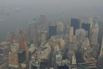 New York City covered in a shroud of smog on a summer day.