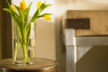 A tall vase can help keep cut tulips upright.