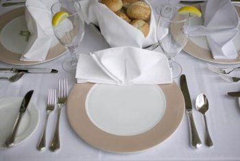 Formal dinners traditionally have utensils for each course..