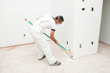 Drywall corners are protected from damage by metal or plastic.