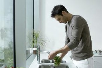 A recessed kitchen sink makes counter cleanups fast and easy.