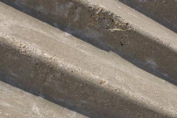 Concrete steps are various sizes and widths.