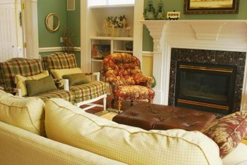 Removing the orange chair would make this cozy fireplace conversation area feel less cramped.
