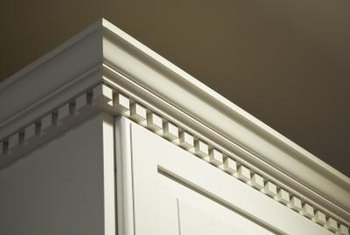 The most detailed area of crown molding faces down.