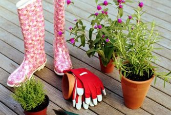 A deck container garden needs only basic tools and equipment.