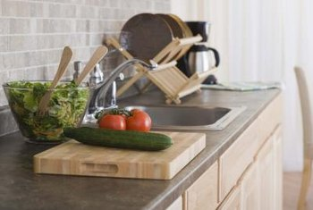 Laminate countertops can be installed in a couple of hours in a kitchen or on a bath vanity.
