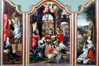 Triptychs often grace the walls of churches or public buildings.