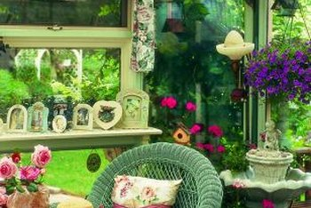 Afternoon tea on this sun porch is enhanced by the soothing sound of running water.
